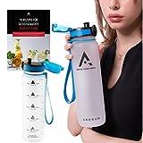 Arogun 1 Liter Trinkflasche mit Zeitmarkierung I Auslaufsicher I BPA Frei I Wasserflasche mit Uhrzeit als Trinkerinnerung und Fruchtfilter I Sportflasche mit Motivation