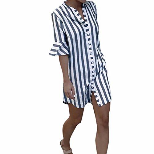 Preisvergleich Produktbild YULAND Damen Langarm,  Bekleidung Tops T Shirt Bluse Langarmshirt Hemd Lose Oberteile - Frau Horn Sleeve Striped halbe Ärmel Tops lange Bluse (XL)