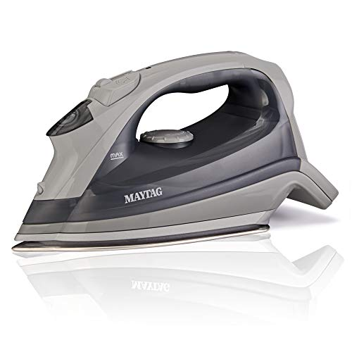 Maytag Speed Heat Steam Iron & Vertical Steamer with Stainless Steel Sole Plate, Self Cleaning Function + Thermostat Dial, Grey, M200