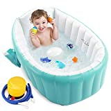 Baby Inflatable Bathtub, Portable Infant Toddler Bathing Tub Non Slip Travel Bathtub Mini Air Swimming Pool Kids Thick Foldable Shower Basin, Green