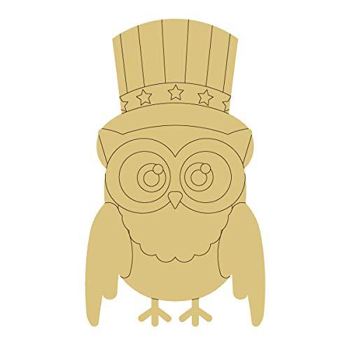 Envelope Design by Lines Cutout Unfinished Wood Owl 4th of July Uncle Sam Hat Door Hanger MDF Shape...