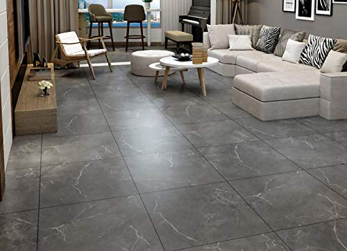 Fabulous Décor - Floor Tiles, Durable Vinyl Decals, Charcoal Gray Granite Marble Design, DIY Peel and Stick, Self-Adhesive for Kitchen, Bathroom, Water and Heat Resistant 11.8 x 11.8 (10 Tiles)