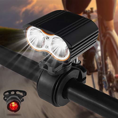 LED Fahrradlicht Set Wiederaufladbare 5 Licht-Modi Fahrradlampe Rennrad Frontscheinwerfer MTB Mountain Scheinwerfer Scheinwerfer LED Fahrradbeleuchtung-Set Frontlicht und Rücklicht IP-65 wasserdicht