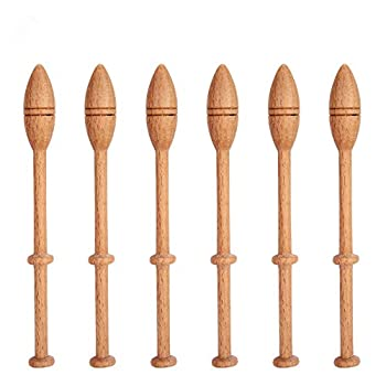 GLOGLOW Bobbin Lace Kit 12Pcs Lace Bobbins Hardwood Lace Bobbin Wooden Antique Vintage French Artisan Craft Turned Wood Weaving Tools