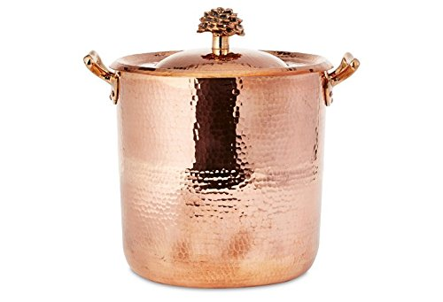 Amoretti Brothers Copper 10 Qt Stock Pot- Flower Lid