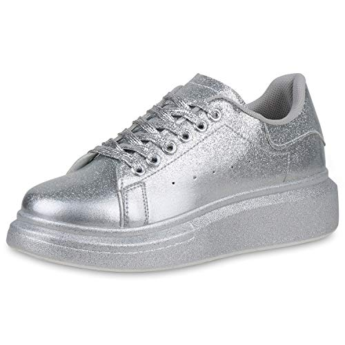 SCARPE VITA Damen Plateau Sneaker Wedges Keilabsatz Schuhe Keilsneaker Glitzer Turnschuhe Schnürer Freizeitschuhe 190472 Silber 39