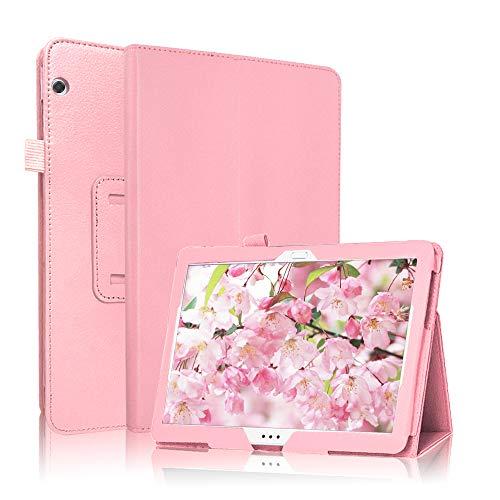 FSCOVER Funda para Huawei MediaPad T5 10, Slim PU Protectora Carcasa Folio Cover con Soporte Función para Huawei MediaPad T5 10 10,1 2018, Rosa