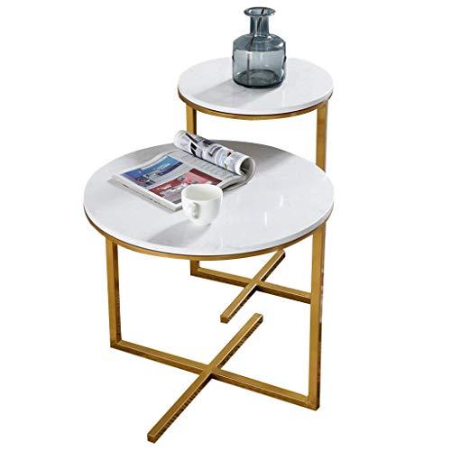 Home D & eacute; cor Furniture Mesas auxiliares pequeñas de 2 piezas Mesas de café de té de mármol modernas Mesas de café con base de metal Mesas nido de almacenamiento para sala de estar, oficina, mu