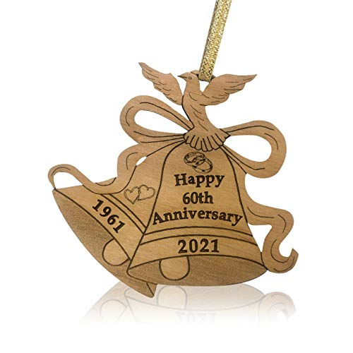Jolette Designs Happy Anniversary Ornament - Romantic Wooden Wedding Ornaments - Laser Cut for Christmas Decorations with Bells, Dove, Year - Keepsake Wedding Gift for Couples (60th)