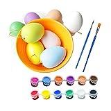 O-Toys Easter Egg Decorating Kit Kids Eggs Paint Set DIY Gift Festival Decor with Plastic Eggs Colorful Dyes Brush for Boys Girls Children