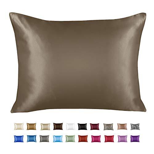 ShopBedding Luxury Satin Pillowcase for Hair – Standard Satin Pillowcase with Zipper, Pewter (1 per Pack) – Blissford