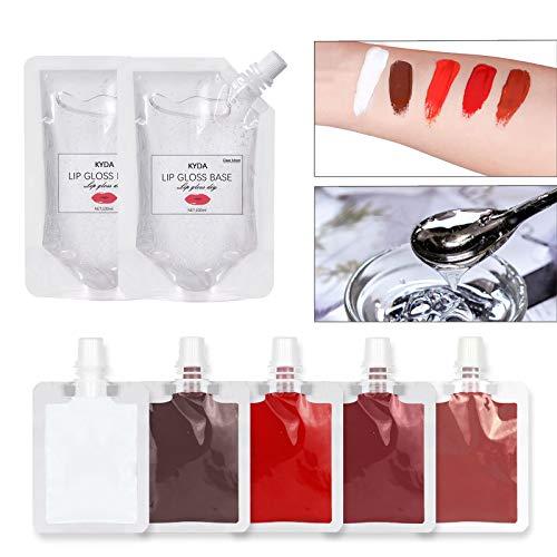 Ownest 5 Colors Lip Gloss Liquid Pigment Kit(with 2pcs Moisturize Lip Gloss Base),Handmade Lip Gloss Base Color DIY Pigmented Liquid Lip Colors,for Lipstick Color Pigment