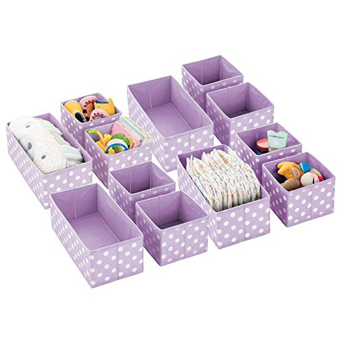 mDesign Soft Stackable Fabric Closet Storage Organizer Holder Box - Clear Window, Attached Lid, for Child/Kids Room, Nursery - Polka Dot Print - Set of 12 - Light Purple/White