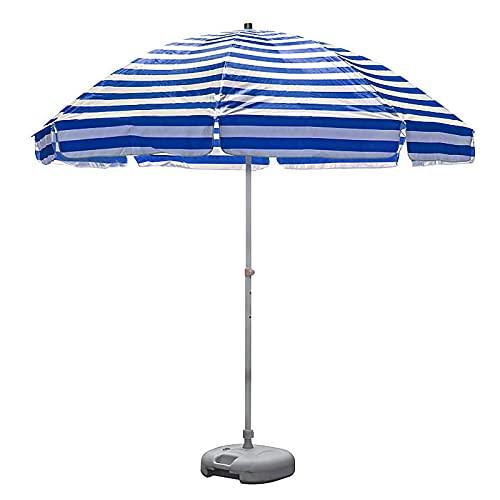 ZLI Paraguas de Jardín Parasol de Playa Parasol, Sombrillas de Mesa de Mercado de Rayas Blancas Azules con Flecos y 8 Costillas, Paraguas al Aire Libre para Jardín, Piscina, Patio (Size : 2m/6.5ft)