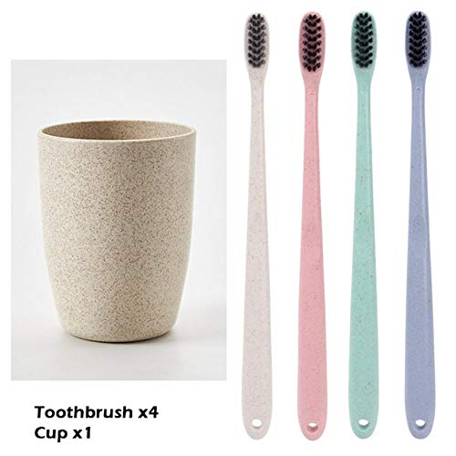 LLAAIT Zahnbürstenset (Zahnbürsten & Cup) Pflege Weiche Borsten Nano Zahnbürste PP Kunststoff Zahnputzbecher Bürstenhalter Zahnputzbecher, 1