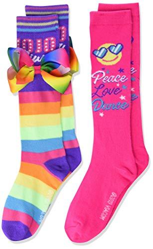 JoJo Siwa girls Jojo Siwa 2 Pack Knee High Casual Sock, Rainbow Multi, Fits Sock Size 6-8.5 Fits Shoe Size 7.5-3.5 US