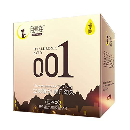 Poachers Kondome, Naturlatexkautschuk Mondkatze Hyaluronsäure Ultradünn 0,01Nackte Faden Lang Anhaltende Leidenschaft 10 Stück