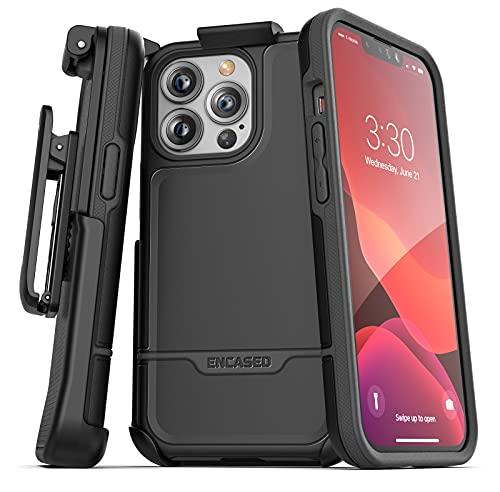Encased Rebel Designed for iPhone 13 Pro Max Belt Clip Case (2021) Protective Shockproof Case with Holster (Black)