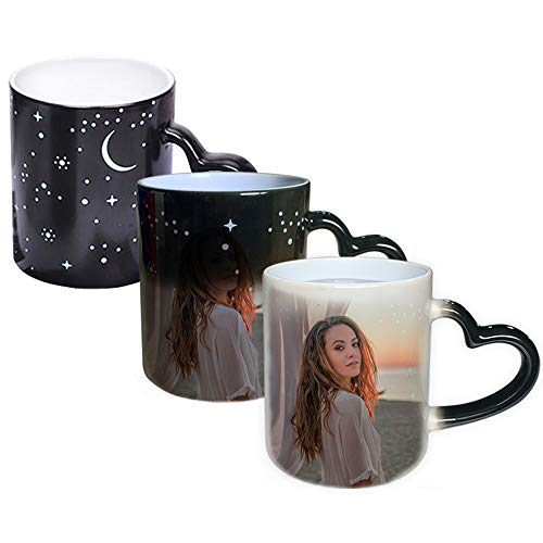 DEABOLAR Magische Benutzerdefinierte Foto Farbwechsel Kaffeetasse, Personalisierte DIY-Druck Keramik Farbwechsel Tasse - fügen Sie Ihre Fotos und Text (Schwarzer Sternenhimmel, Fotoeffekt)