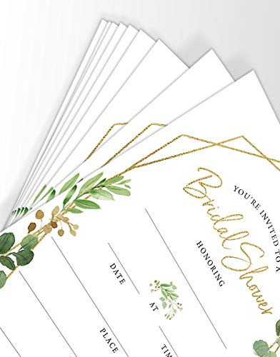 Bridal Shower Invitations, 25 Cards and Envelopes, Gold Greenery Wedding Shower Invites