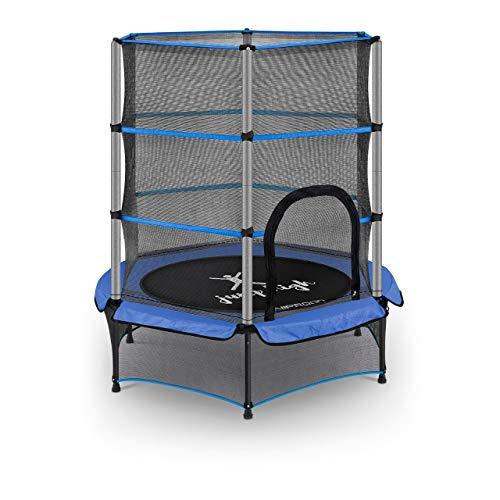 Uniprodo Trampolín para Niños Cama Elástica Uni_Trampoline_03 (con Red de Seguridad, Diámetro 140 cm, Capacidad de Carga 50 kg, Azul)