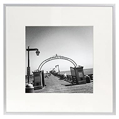 Golden State Art Metal Wall Photo Frame Collection, Aluminum Silver Photo Frame with Real Glass (12x12)