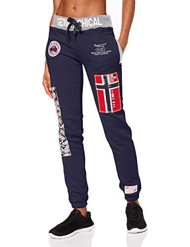 Geographical Norway Pantalon de Jogging Femme avec Bas resséré et Impressions sur Jambes, Existe en 5 Coloris,Marine,40