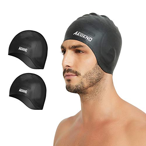 Aegend Unisex Swim Caps Cover Ears (2 Pack), Durable & Flexible Silicone Swimming Caps for Long Hair & Short Hair,Easy to Put On and Off, Black Black