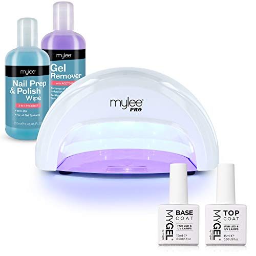 MYLEE 15 Seconds Cure Convex Curing LED Gel Polish Nail Drying Lamp KIT, 3 Curing Cycles, Compatible With All Gel Polish, Kit incl. MYGEL Top & Base Coat, Mylee Prep + Wipe, Gel Remover (White)