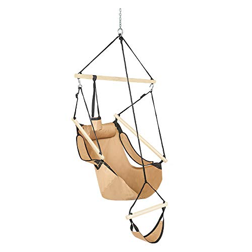 ONCLOUD Upgraded Unique Hammock Sky Chair, Air Deluxe Hanging Swing Seat with Rope Through Beech Wood Bar Safer Relax with Drink Holder & Fuller Pillow for Indoor Outdoor Patio Yard 250LBS (Tan)