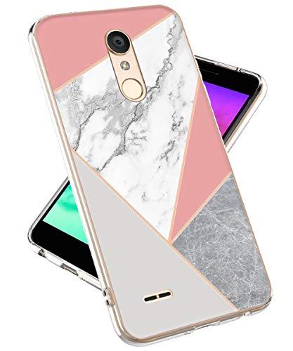 LOVEMECASE LG K30 Phone Case,LG Phoenix Plus Case, LG Premier Pro LTE Case, Marble Design Clear Bumper TPU Soft Case Rubber Silicone Skin Cover for LG K30(Grey Pink Marble)