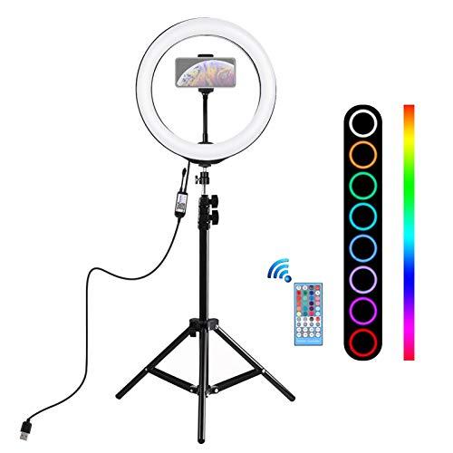 """WETCEAOM Luz de Anillo LED,10"""" Aro de Luz con Tripode 110cm,Ring Light para Maquillaje, Tiktok, Stream, Fotografia, Vlog (Control Remoto)"""