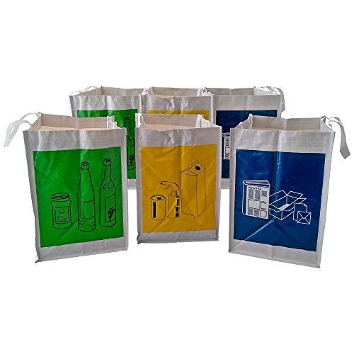Pack de 2 Sets de 3 Bolsas Basura Reciclaje/Cubos de Reciclaje, Separables, con Asas, Gran Capacidad, para Papel, Vidrio y Plástico, Ideal para Hogar/Oficina/Interior/Exterior