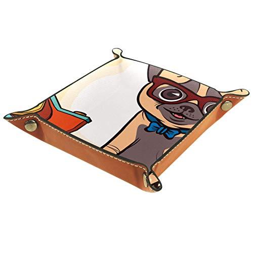 YATELI Kleine Aufbewahrungsbox,Herren-Valet-Tablett,Hund mit Brille und Fliege Kamera,Leder Catchall Organizer für Coin Box Key Schmuck