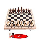WJMLS Juego de ajedrez de Madera for Adultos y niños, 2 Reinas Extra Extra, Piezas de ajedrez Hechas a Mano con Tablero Plegable, Juegos de Tablero de ajedrez de Viaje portátiles (Size : M)