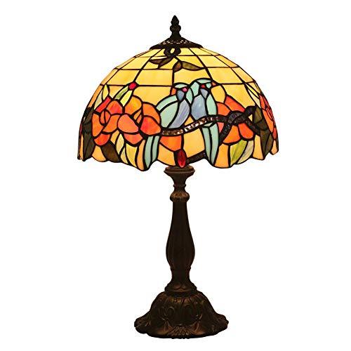 Personalisierbares Bett im Tiffany-Stil, Tischlampe, bunte Blumen und Lampenschirm aus Glas, für Bett, Doppelbett, Retro-Stil, kreative Kaffee, Restaurant, Tischlampe