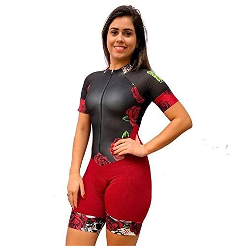Skinsuit de triatlón mullsuit mujeres ciclismo jersey conjunto de manga corta 9D Gel Pad MTB Ropa de verano de bicicleta (Color : 21, Size : L)
