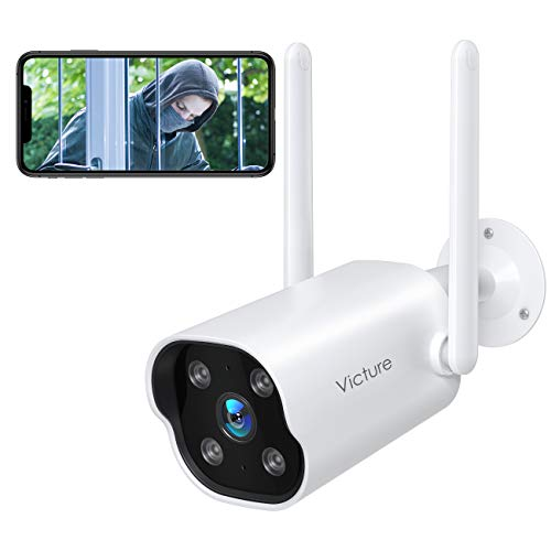 Victure Überwachungskamera Aussen, Dual 2.4GHz Wi-Fi Antenne, 1080P WLAN IP Kamera mit IP65 wasserdicht, Zwei Wege Audio, Bewegungserkennung und Klangerkennung, Victure Home APP
