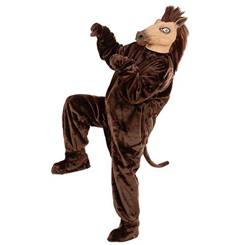Amakando Costume Complet Cheval déguisement intégral en Velours Poney en péluche Rosse Barboteuse Ferme Animal fête Mascotte Habit Carnaval