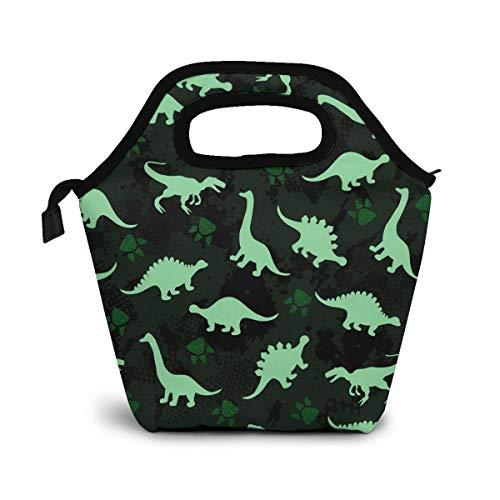 Cute Kid Dinosaurios coloridos Bolsa de almuerzo Bolsa más fresca Mujer Bolsa de asas Fiambrera con aislamiento Bolsas térmicas de almuerzo para mujeres/Picnic/Paseos en bote/Playa/Pesca/Trabajo