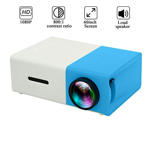 MIMI KING LED Mini proyector 320x240 píxeles Soporta USB 1080P HDMI de Audio portátil proyector de Home Media Reproductor de vídeo,Azul