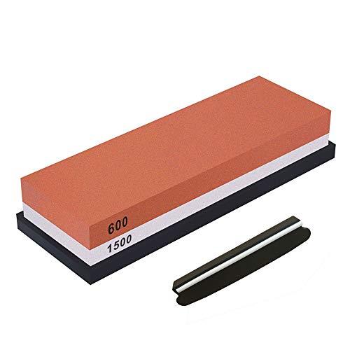 FXYHELLO Slijpsteen Set 600/1500 1000/4000 2000/5000 Grit Keuken Whetstone Tool dubbele messenslijper met anti-slip Bamboe Base