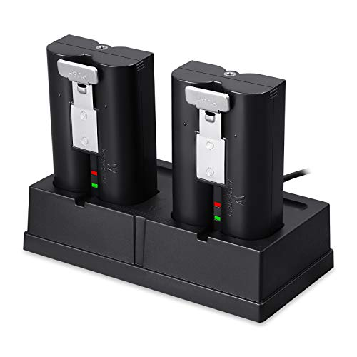 Kit de estación de Carga y Pack de 2 baterías Recargables compatibles con cámara de Seguridad Ring Spotlight CAM Battery, Ring Video Doorbell 2, Ring Stick Up CAM Battery HD y Ring Door View CAM