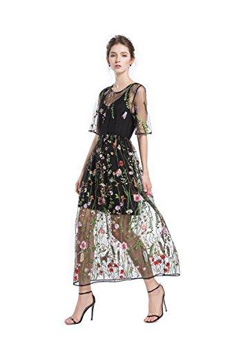 BaronHong Mujeres Florales Bordados Tul Prom Vestido Maxi Con Cami Vestido 3/4 Mangas