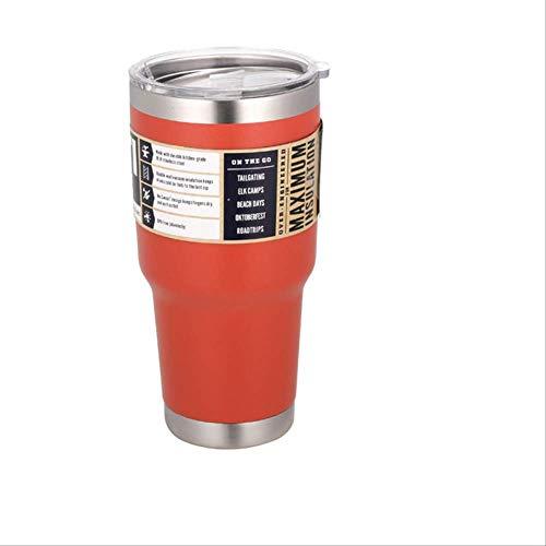 FHFF Thermosbecher Auto Thermobecher mit Logo Vakuumflaschen Isolierflasche Thermo-Trinkflasche kalt oder heiß Outdoor Bier Kaffeetasse 30oz ohne Logo orange