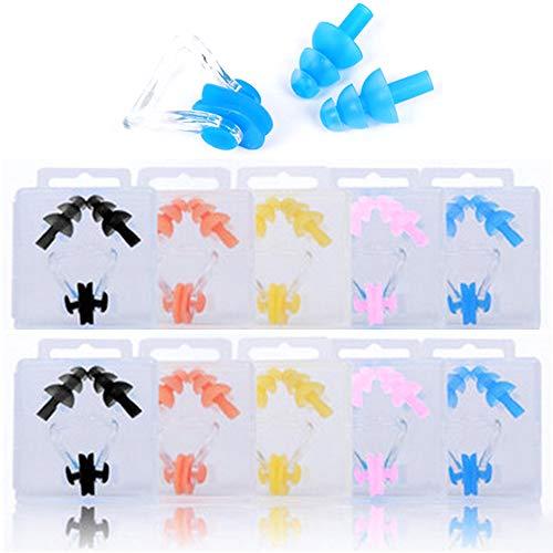 Xinlie Nasenklammer Schwimmen Nase Plug Tauchen Nasenclip Schwimmen Nasenklemme Silikon Nasenschutz Nasenclip für Kinder Erwachsene, Nasenclip Protector zum Schwimmen mit Aufbewahrungsbox (10 Sets)