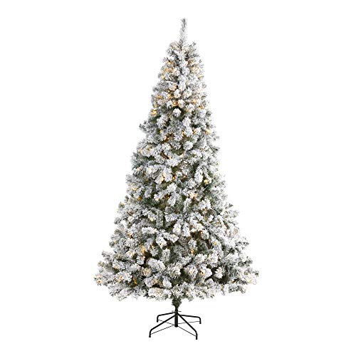 Nearly Natural 8ft. Flocked West Virginia Fir Artificial Christmas Tree with 500 Clear LED Lights , Green