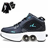 Patins A roulettes 4 Roues Patins A roulettes Reglables Roller Shoes Casual Sneakers Adapté pour Les Débutants Adultes Et Enfants,Black-39