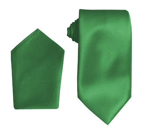 Herren Satin Krawatten - einschließlich Taschentuch, Mehrfarbig - Smaragdgrün, Länge: 56 Zoll