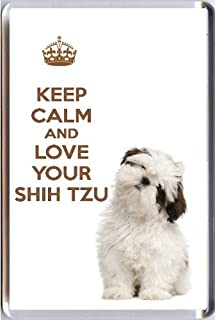 "Yummy Grandmummy, Cute Shih Tzu image Acrylic Fridge Magnet. ""Keep Calm and Love Your Shih Tzu"""